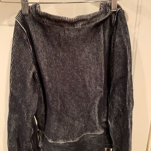 Black and white stripped pull over